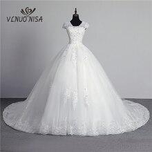 100% תמונה אמיתית במלאי אופנה תחרה פרח מתוקה כבוי לבן סקסי מוסלמי שמלת כלה עבור כלות בציר Applique נצנצים