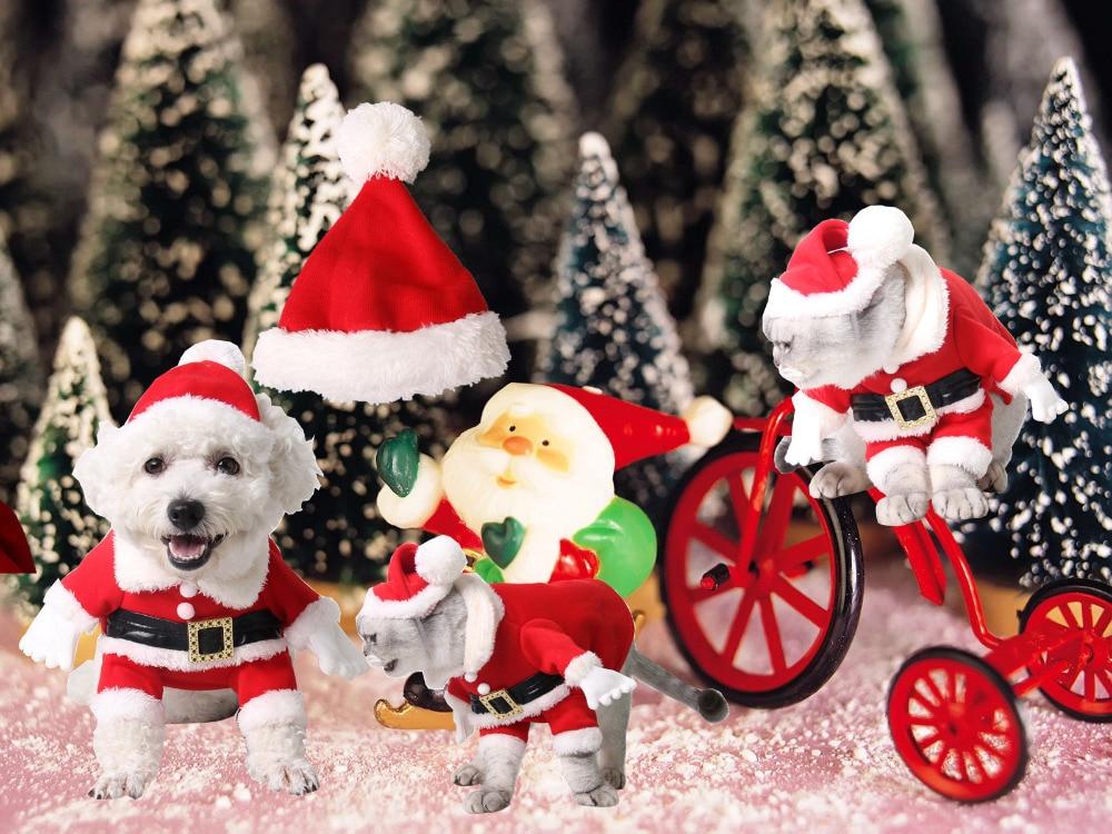 Pet Christmas Costumes Dog Suit with Cap Santa Claus Suit Dog Hoodies Cat Xmas costumes