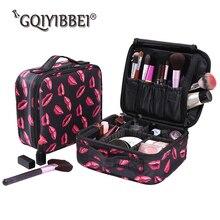 Brand 2018 New Storage box Red Lip Flower pattern Women Makeup Bag Nylon Waterproof Portable Travel Organizer Cosmetic Case