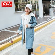 Vintage New Fashion Thick Denim Trench Coat Winter Long for Women Single Breasted Overcoats Super Warm Outwear Female Plus Size
