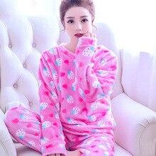 Autumn Winter Women Pajamas Coral Fleece Sleepwear MT