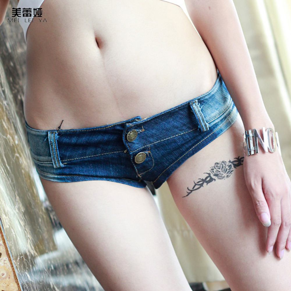 Meileiya Brand New Summer Womens Sexy Super Short Denim Mini Shorts Sexy Low Rise Crotch Thong Jeans Skinny Jeans