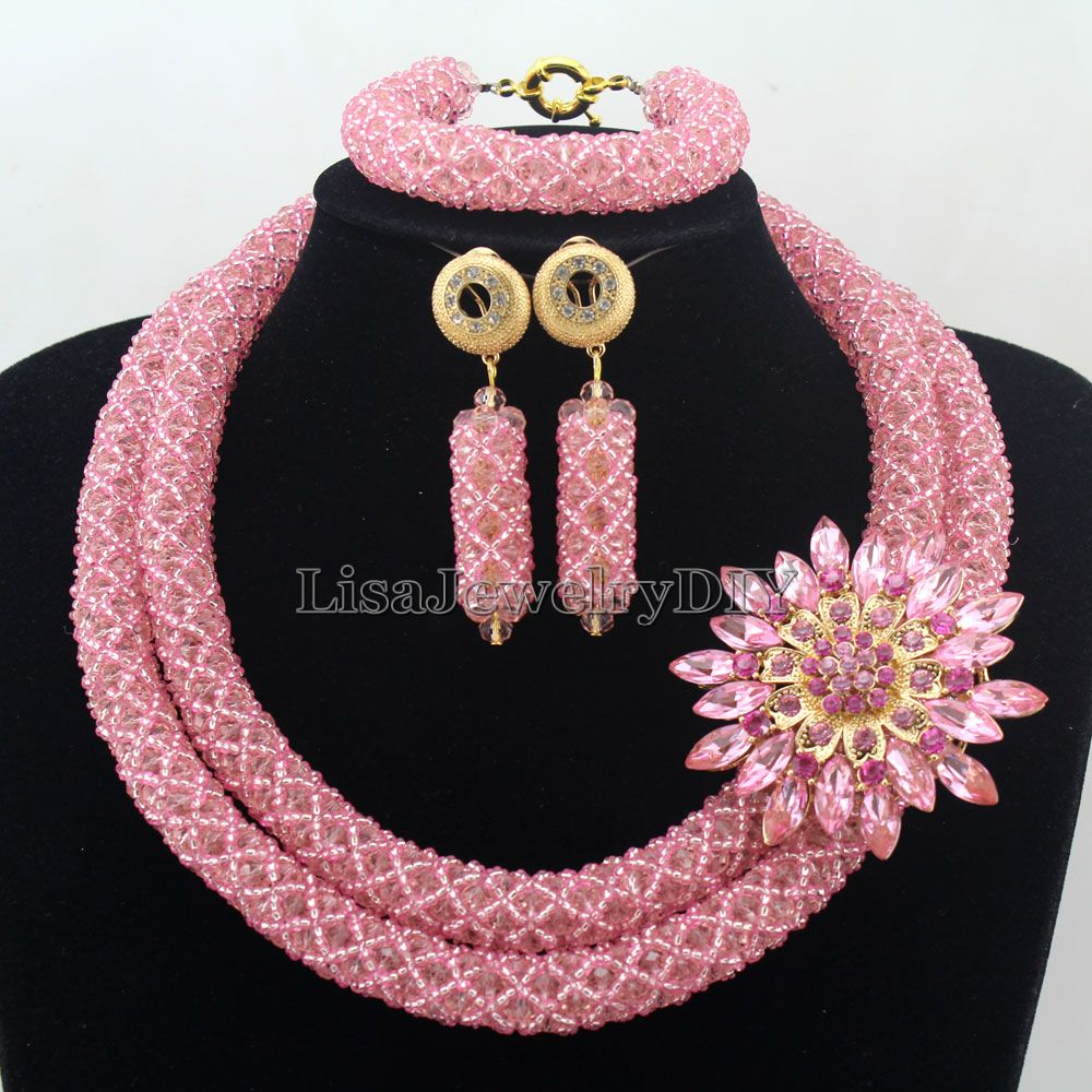 Fashionable African Beads Jewelry Sets Crystal Jewelry Set Nigerian Wedding Necklace Womens Jewellery Set Jewelry Sets HD7288