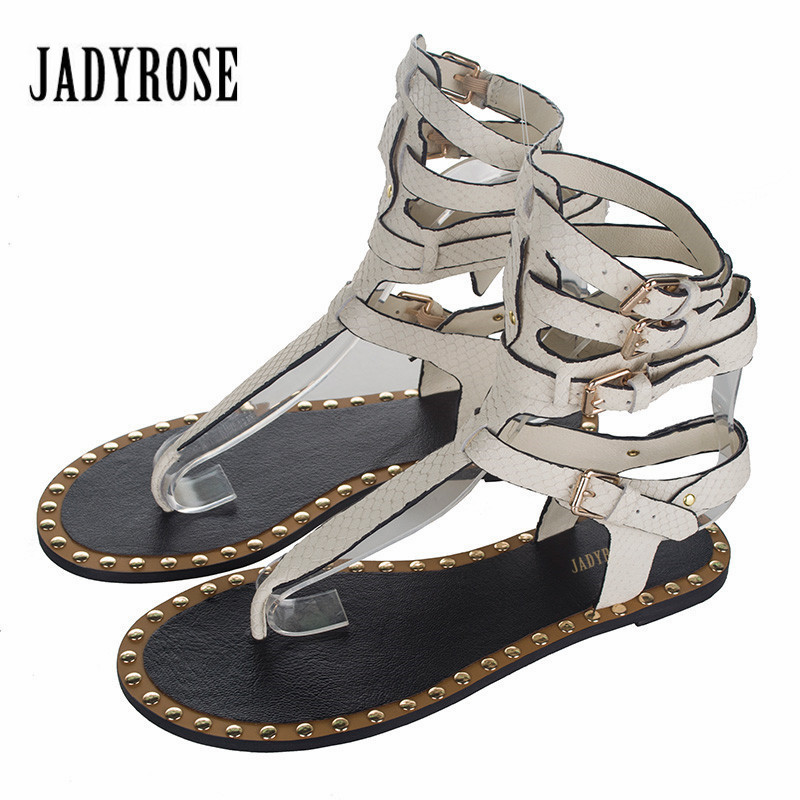 Jady Rose 2017 Summer Women Genuine Leather Gladiator Sandals Straps Rivets Flat Shoes Woman Casual Beach Flats Flip Flops timetang 2017 leather gladiator sandals comfort creepers platform casual shoes woman summer style mother women shoes xwd5583