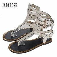 Jady Rose 2018 Summer Women Genuine Leather Gladiator Sandals Straps Rivets Flat Shoes Woman Casual Beach Flats Flip Flops
