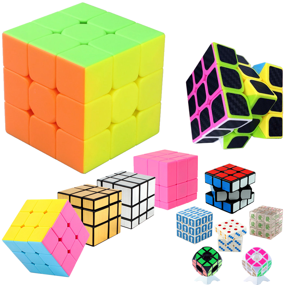 3*3*3 Magic Cube Puzzle Toy For Children Kids Speed Cube 3x3x3 On 3 Mirror Cube & Holder Qiyi Speed Cubs Megico Keychain Keyring