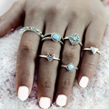 6 pcs/set Arrow Triangle Stone Turquoise Rings Silver Crystal Rhinestones Vintage Punk Bohemian BOHO Finger Jewelry For Women