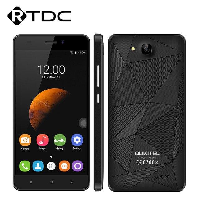 Оригинал Oukitel C3 Мобильного Телефона 5.0 дюймов 1280x720 Android 6.0 MT6580 Quad Core 1.3 ГГц 5.0MP 1 Г RAM 8 Г ROM 2000 МАч Двойной SIM
