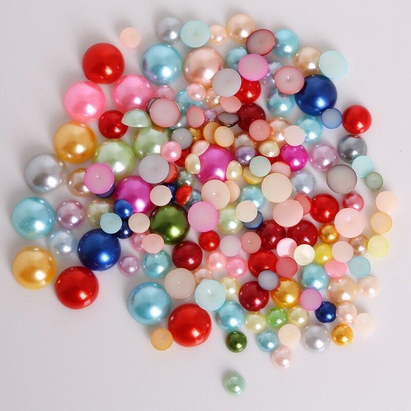 12 мм смешанные цвета круглой формы имитация полукруглые жемчужные Плоские бусины для скрапбукинга DIY украшения