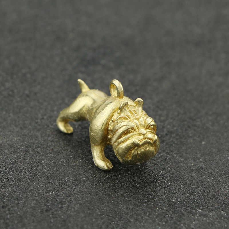 Latão Francês Bulldog Correntes Chaves Do Vintage Cobre Brilhante Animais Pug Pingentes Encantos Bonito Do Cão Chaveiros Bugiganga Ornamentos Homens