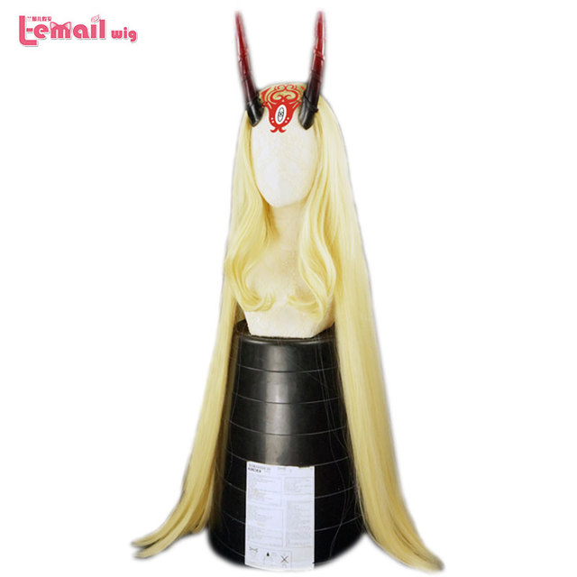 L email wig Fate Grand Order Ibaraki Douji Cosplay Wigs FGO Cosplay Yellow Long Straight Wig Heat Resistant Synthetic Hair