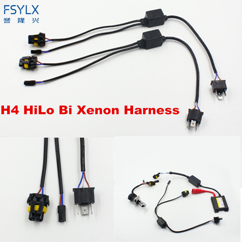 Fsylx 2pcs Universal H4 Hi Lo Relay Wiring Harness Hid