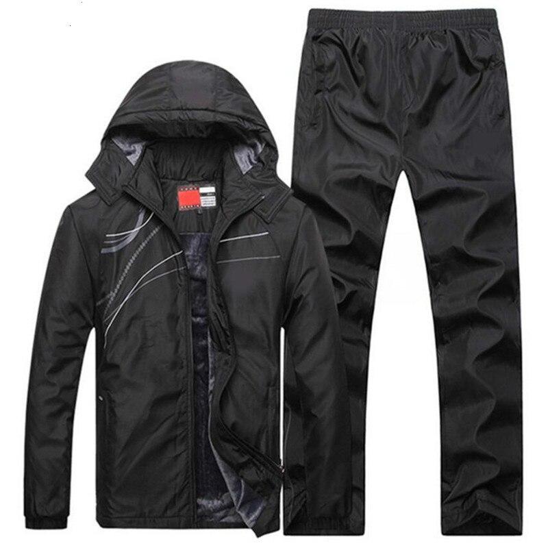 2019 Caldo Casual Abbigliamento Sportivo Uomo Cappotti Con Cappuccio Vestiti Giacca Invernale Tute Degli Uomini Di Set Addensare Felpe Pile + Vestito Di Pantaloni Materiali Superiori