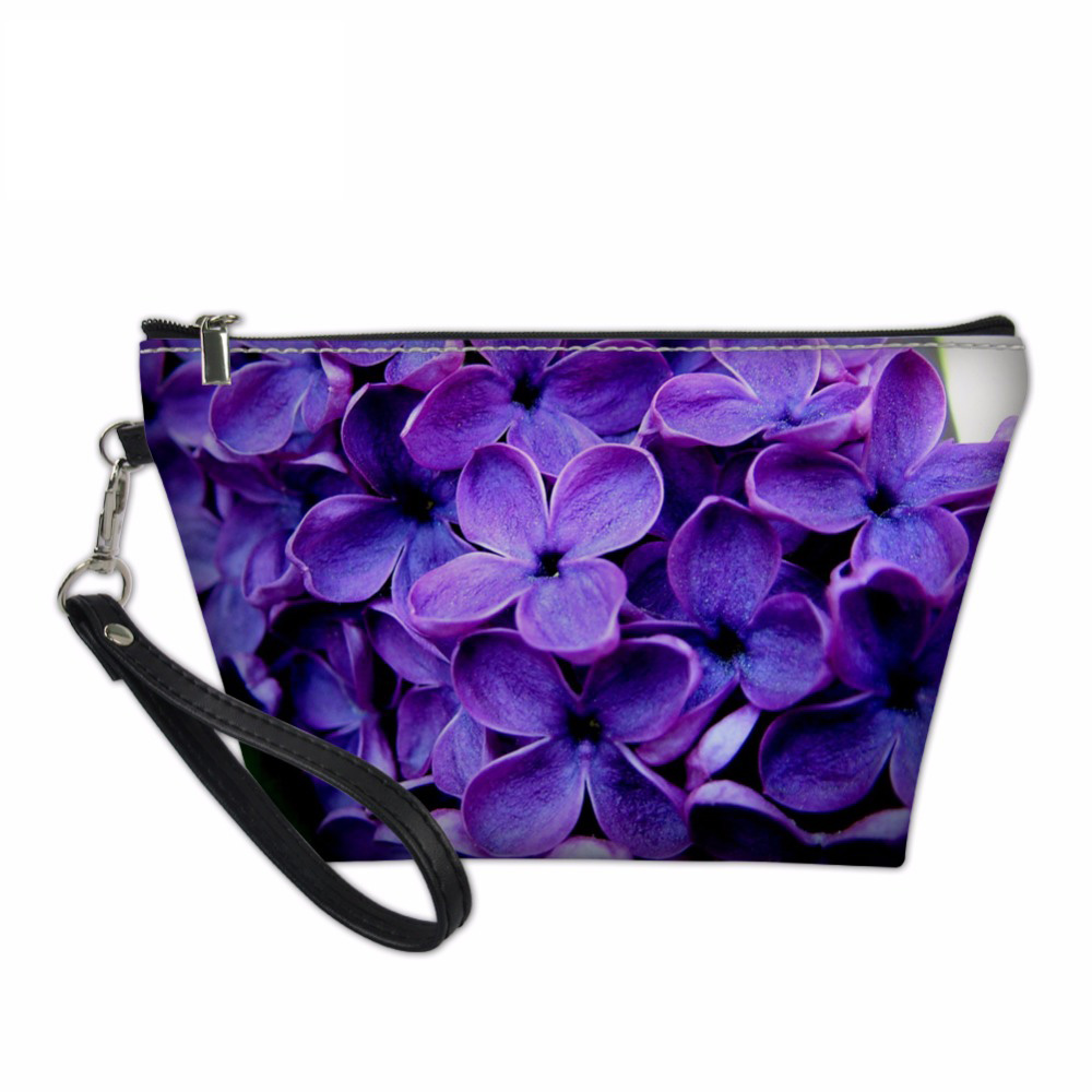 Noisydesigns Women Purple Lilac Pattern Organizers Bags for Ladies Travel Make Up Pouchs Functional Cosmetics Toiletry Bag