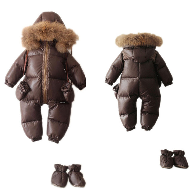 -25холодные зимние костюмы детскую одежду одежда для новорожденных мальчиков тепло верхней одежды меховой утка водонепроницаемые теплый комбинезон детский мальчик комбинезоны зима унисекс полиэстер ползунки флисовый