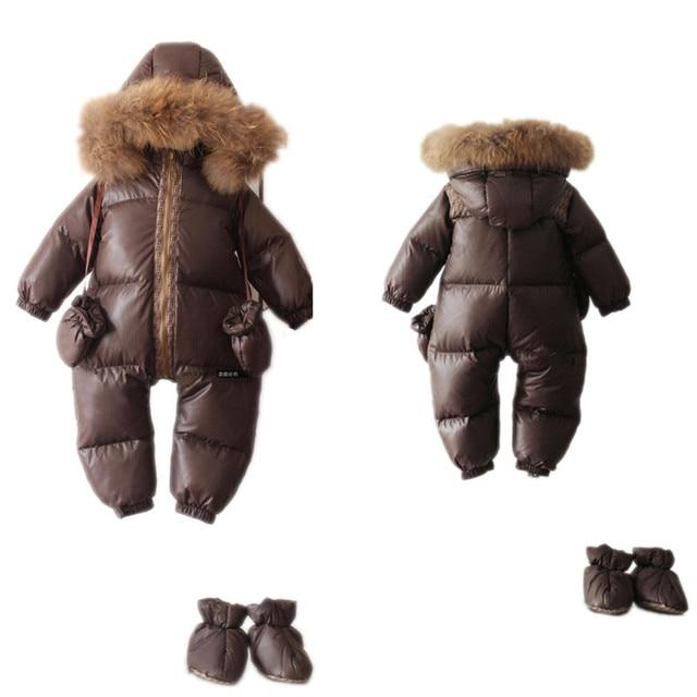 -25 Degree Winter Children Overalls Baby Snowsuit Newborn Duck Down Jumpsuit Infant Kids Thicken Rompers Boys Girls Fur Hooded