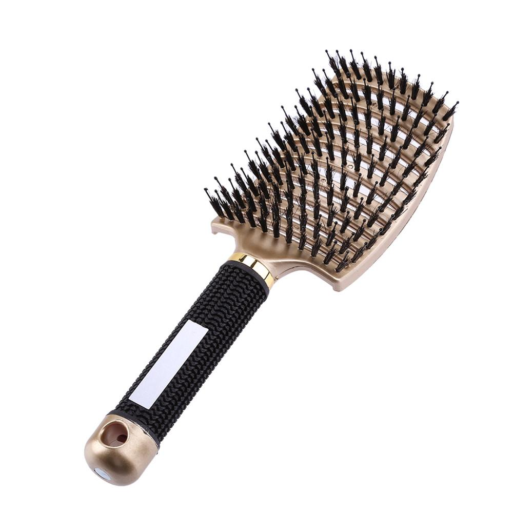 Professional Plastic Nylon Anti-Static Hair Brush Curved Row Scalp Massager Comb Hairdressing Styling Tools