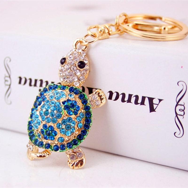 Cute Trinket Алтын түсті ринстон Tortoise Keychains - Сәндік зергерлік бұйымдар - фото 2