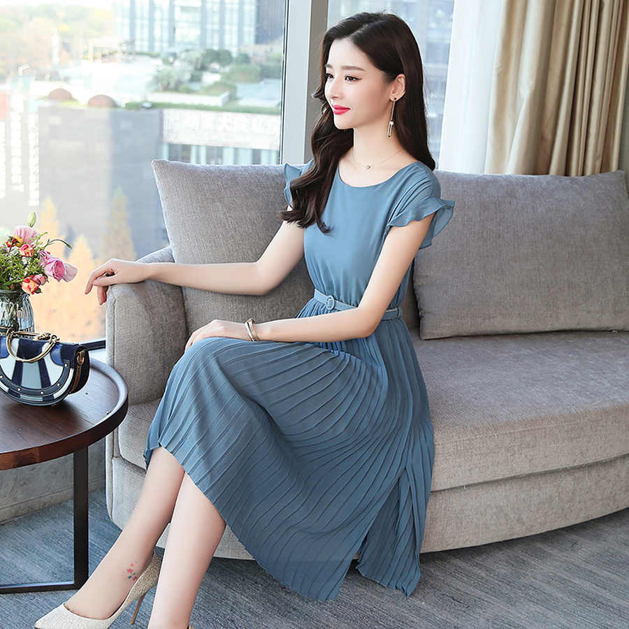 2019 женщин новый корейский сплошной цвет винтажное богемное платье лето большой размер сплошное сексуальное пляжное платье с поясом элегантный Bodycon пляжный миди женские короткие рукава Vestidos