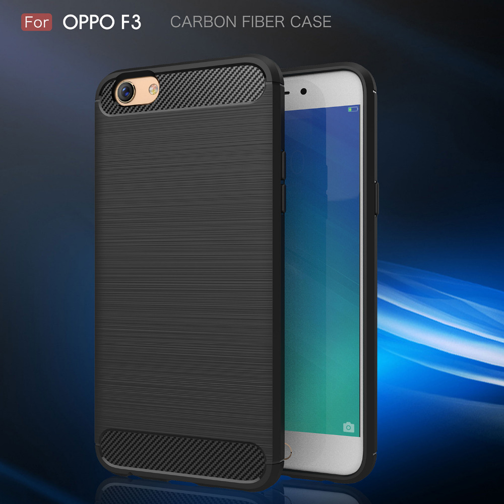 Carbon Fibre Case For OPPO F3 Brushed Rugged Armor Bags Luxury Soft Back Cover For OPPO F3 Black Gray Red Navy Free Shipping