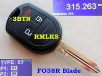 RMLKS New Uncut Remote Key Fob 3 4 Button 80 Bit 4D63 Fit For Edge Escape 2007 2013 315MHz 433MHz Car Key