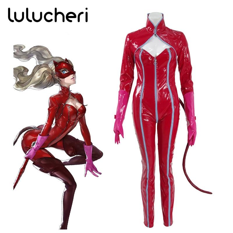 Persona 5 Anne Takamaki Kaitou Cosplay Costumes PU Woman Jumpsuits Red Bodysuit Halloween Party Christmas Uniform 2018 persona 5 makoto nijima cosplay costumes women school uniform