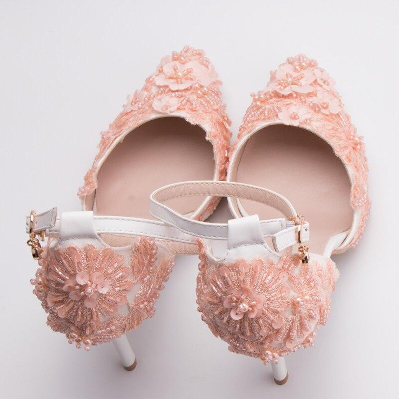 Rosa Zapatos Colores Apliques Perlas Sandalias Encaje Flores Mujer L5RqA34cj