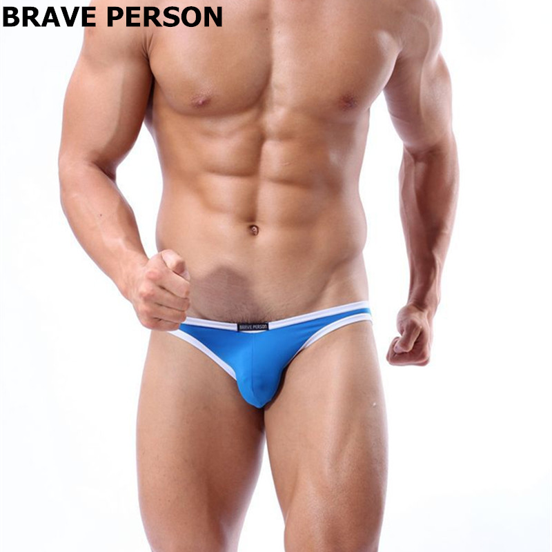 Brave Person <font><b>Bikini</b></font> <font><b>Men</b></font> Underwear Nylon Mini <font><b>Mens</b></font> <font><b>Swim</b></font> <font><b>Briefs</b></font> Low Waist Penis Pouch Bulge <font><b>Sexy</b></font> Panties Swimsuit Slip Smooth image