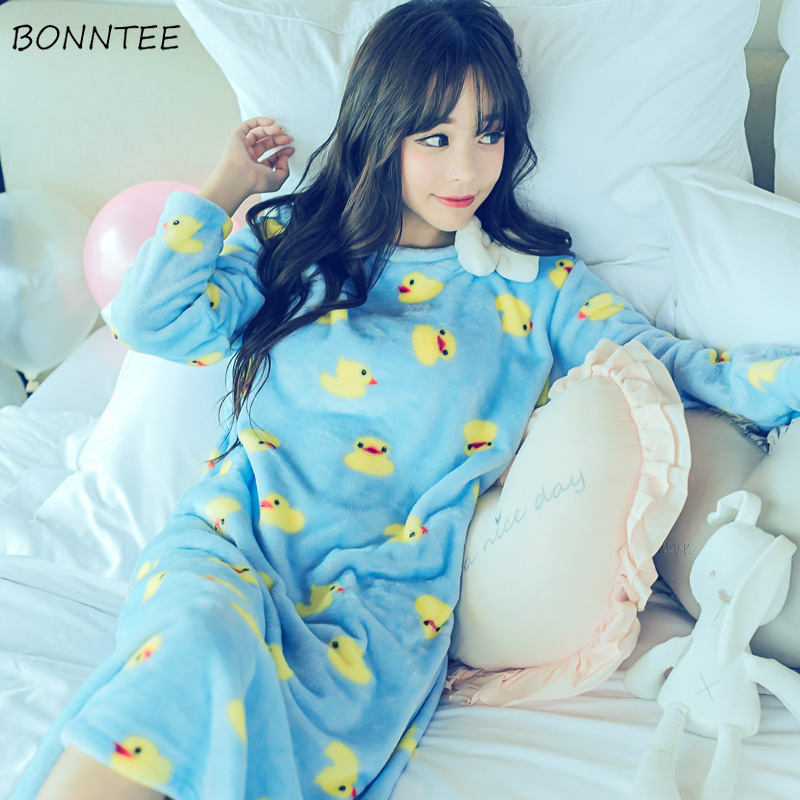 de7f46f6b1 Detail Feedback Questions about Nightgowns Women Winter Kawaii Sleepwear  Flannel Nightdress Lovely Thicken Bow Cartoon Nightgown Womens Nightwear  Trendy ...