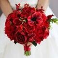 Новый Красный Свадебный Букет Искусственный Цветок Розы Берри Холдинг Цветок красный невесты Невесты Свадебные Букеты свадебные украшения