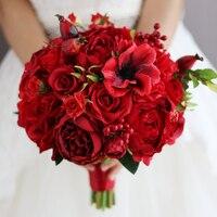 ใหม่สีแดงจัดงานแต่งงานช่อประดิษฐ์ดอกกุหลาบ
