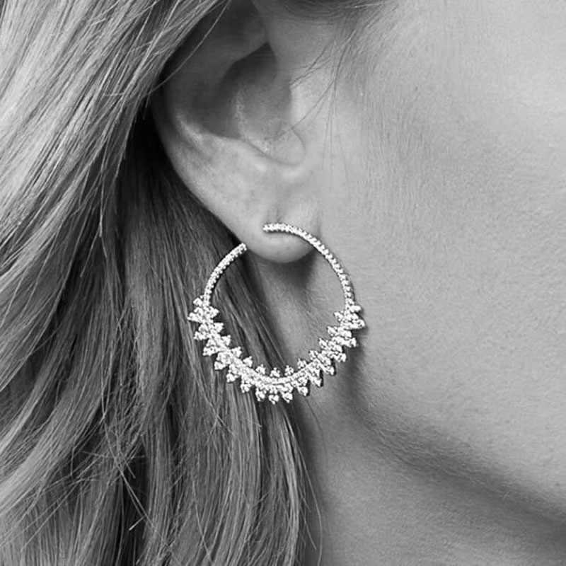 SLJELY 2018 New S925 Sterling Silver Monaco Lace Flower Design Earrings Cubic Zirconia Gear Earring for Women Dentelle Jewelry