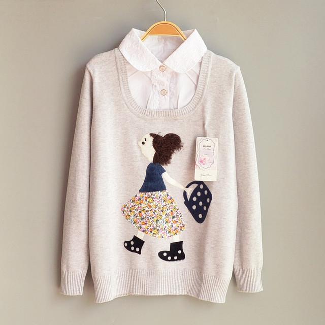 10 a 14 años de adolescente niñas turn down collar falso de dos piezas de algodón suéter suéteres niños otoño primavera suéter ocasional