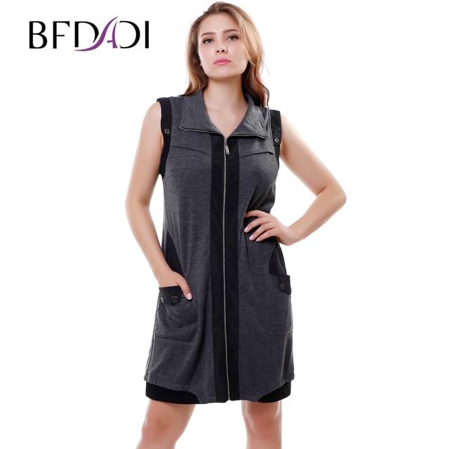 BFDADI 2016 женские платья без рукавов с отложным воротником сращивания молния кардиган леди свободного покроя платье Большой размер 5xl 3328
