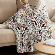 Throw Blanket Microfiber Home-Decoration Ghibli Kawaii Doodle Cute for Bedroom Warm Cartoon-Characters