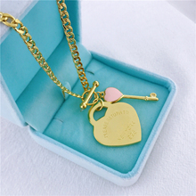 Brand 316L Stainless Steel Gold-Color Heart Shape Pendant Forever Love Key Link Chain Necklace Earings Fashion Jewelry For Women fashion bracelet for women heart rose gold jewelry link chain lady forever love words stainless steel bracelet
