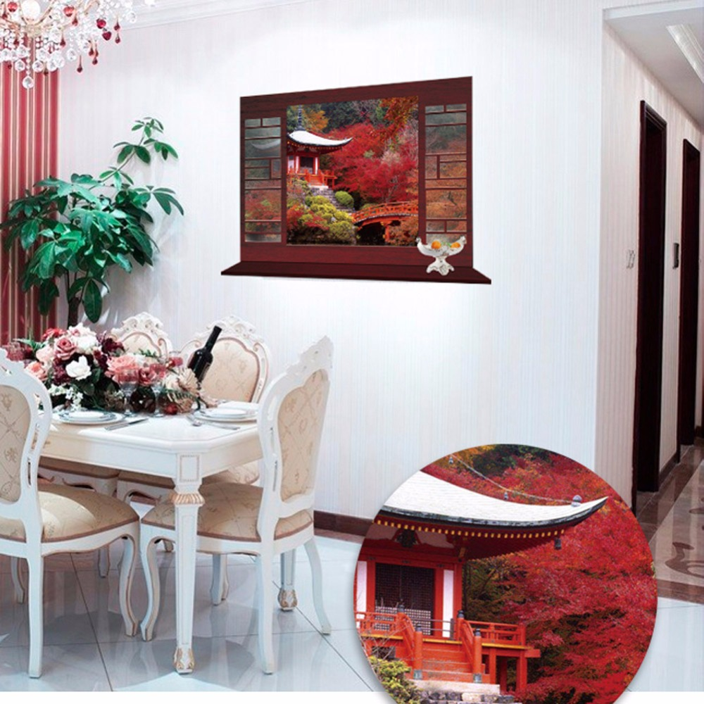 Creative Home Decor 3D Fake Window Wall Sticker Chinese Style ...