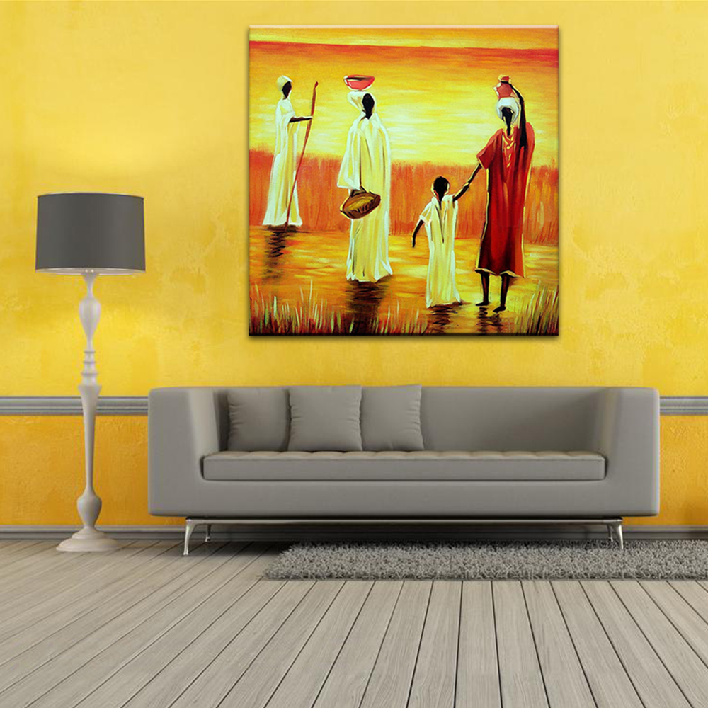 Oil Painting African Landscape Women and Child Wall Art Canvas Hand ...