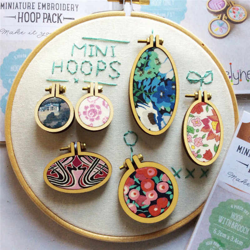 Wooden Mini Cross Stitch Frame With Small Embroidery Hoop Necklace Earring Pendants DIY Gifts Jewelry Decorative Accessories