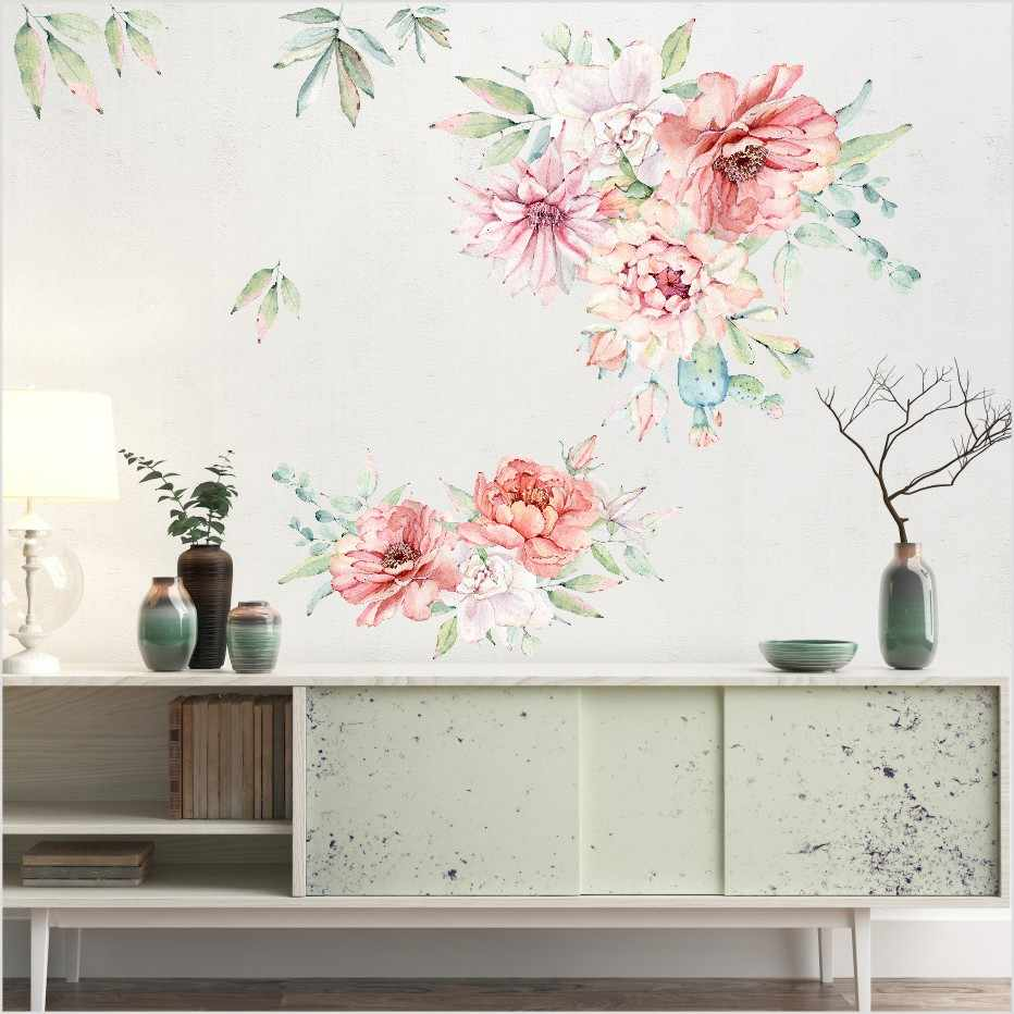 Romantic Colorful Peony Flowers 3D Wall Sticker For Living Room Home Decor  DIY Art Decals Background