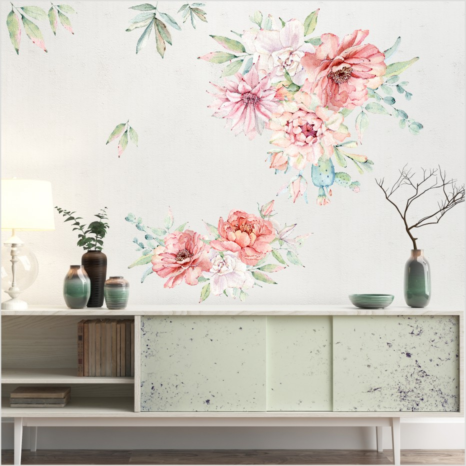 3d Wall Decor Us 9 56 13 Off Romantic Colorful Peony Flowers 3d Wall Sticker For Living Room Home Decor Diy Art Decals Background Wall Decoration Accessories In