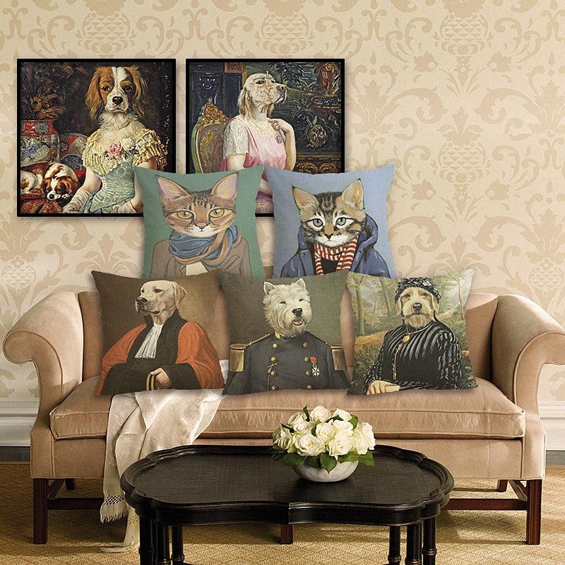 New Home Decor Animals Printed Cushion Cover Linen Pillowcase Decorative Throw Pillow Cover for Sofa 45x45 cm Sofa Cushion