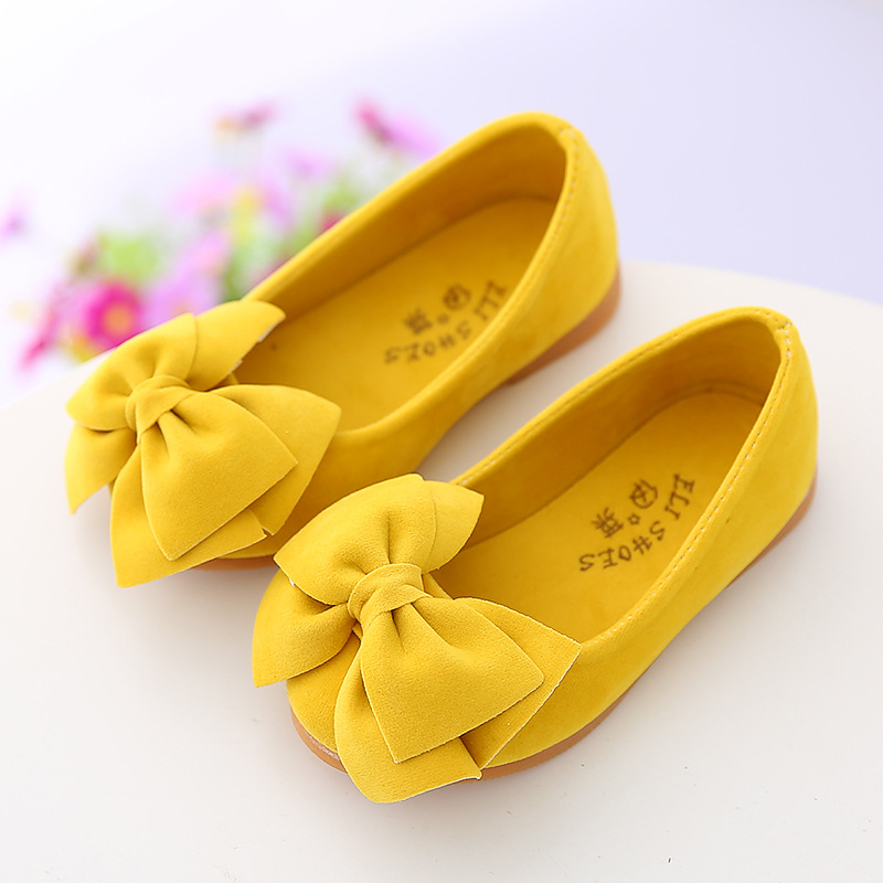 AFDSWG Girls Shoes Wine Yellow Fashion Children's Low-Heeled Kids Bow Red