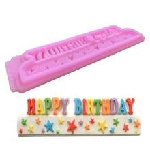 TTLIFE DIY happy birthday letters Star silicone mold fondant tools cake dessert decorators baking sugarcraft moulds