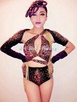 Glisten Rhinestone Bra Short Bodysuit Women's Purple Outfit Dance Leotard Nightclub Multicolor Stones Costume Female Singer Wear