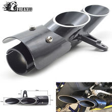 Universal Motorcycle dual toce slip-on Exhaust Muffler double holes for YAMAHA 6R Z900  GSXR1000R CBR1000RR Stainless Steel
