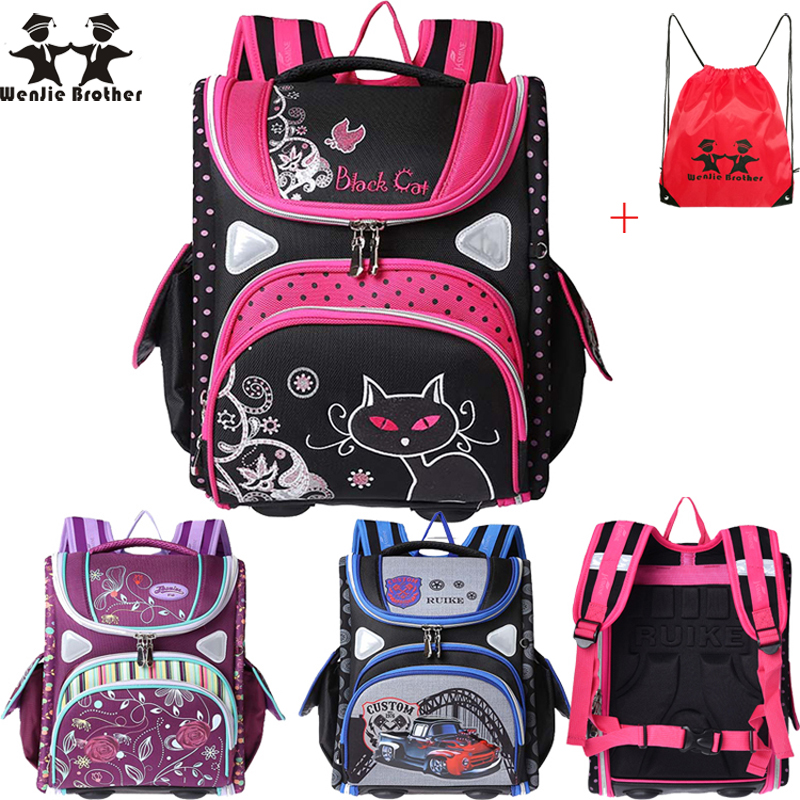 wenjie brother top children s Backpack foldedschool backpack orthopedic Children School Bags for boys and Girls