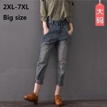 2XL-8XL плюс размер хлопок Пят Брюки 2017 новых женщин способа stiching отбеленные джинсы w1502