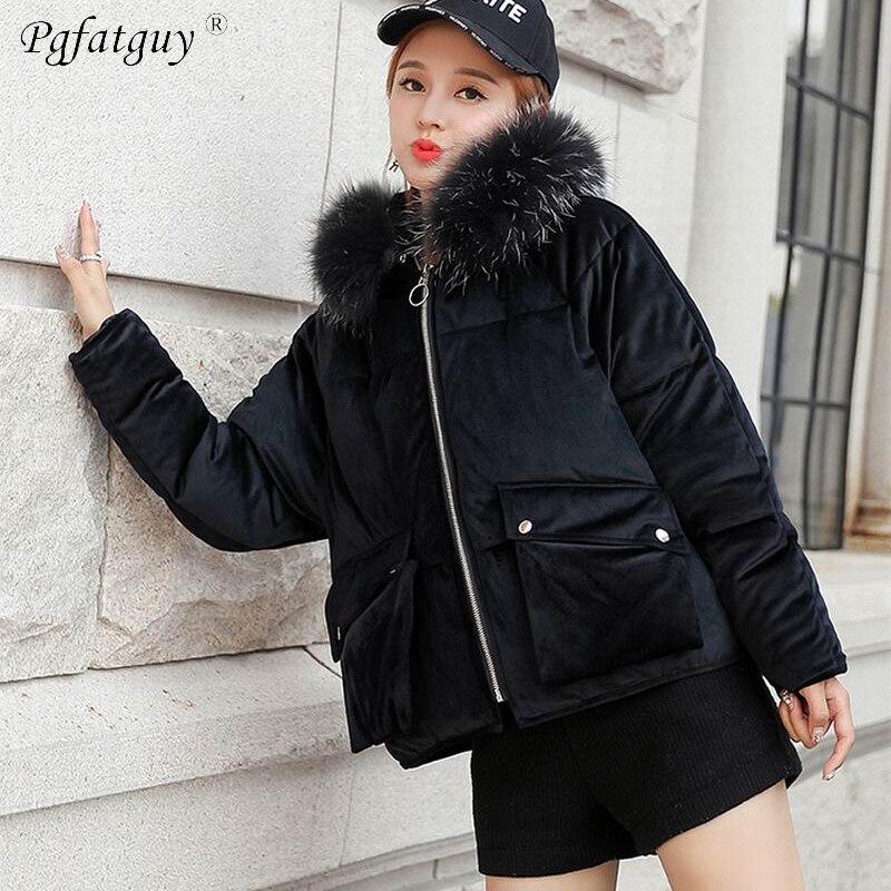 24d0c77135d78 Women Loose Jacket Parka 2018 Gold Velvet Autumn and Winter Snow Wear  Korean Cotton Down Short Black Coats Jackets Female Parkas