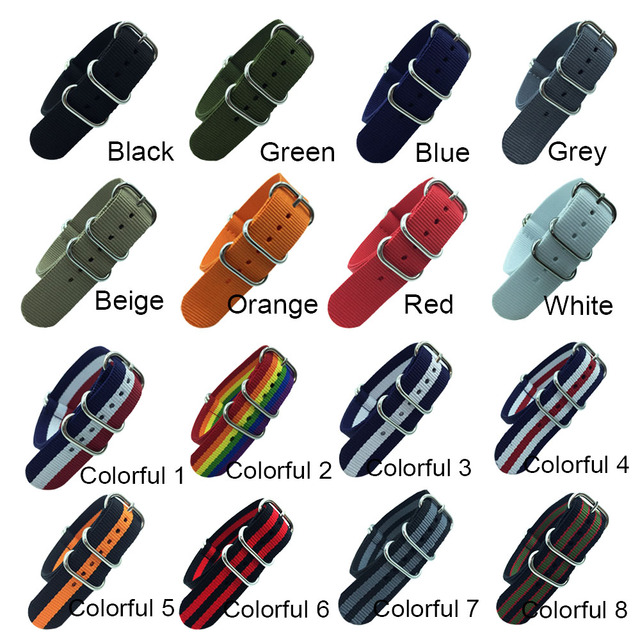 18mm 20mm 22mm 24mm Army Sports Nato Strap Fabric Nylon Watchband Buckle Belt for 007 James Bond Watch Bands Colorful Rainbow